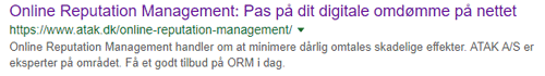 meta-description på Google